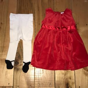 Carter's Red Dress with tights